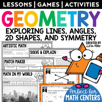 Geometry Task Cards - Lines, Angles, Shapes, Symmetry - Math Center, Game