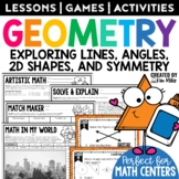 Math Task Cards - Geometry: Lines, Angles, Shapes, Symmetry