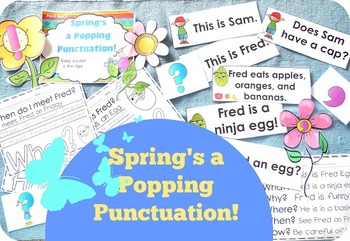 Spring's a Popping Punctuation Posters, Play Dough Mats, and Activities