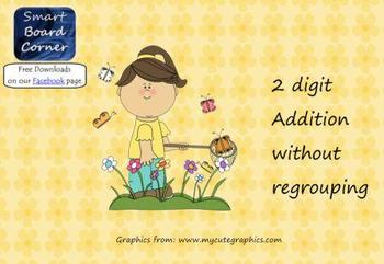 Spring Time Theme Digit Addition without Regrouping Smart Board Lesson