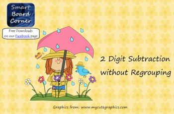 Spring Time Theme 2 Digit Subtraction without Regrouping Smart Board Lesson
