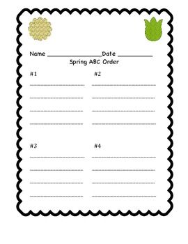 Springtime ABC order- FREEBIE!!
