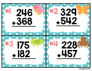Springtime Addition with Regrouping Task Cards