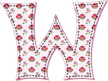 Springtime Alphabet • 98 300dpi PNGs • Latin-Spanish Glyphs • 12 Digital Papers