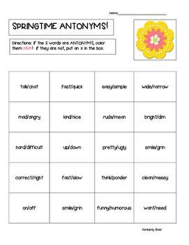 Springtime Antonyms Practice Worksheet