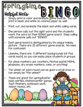 Springtime {Easter} BINGO {sight words}