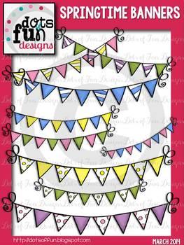 Springtime Banner Clipart ~Dots of Fun Designs~