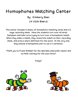 Springtime Caterpillars Homophones Matching Center with Recording Sheet