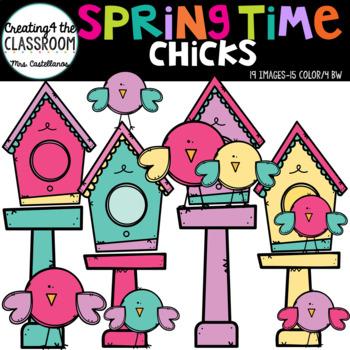 Springtime Chicks at Home {Bird and Birdhouse Clip Art}