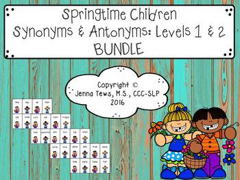 Springtime Children Synonyms & Antonyms: Levels 1 & 2 Bundle