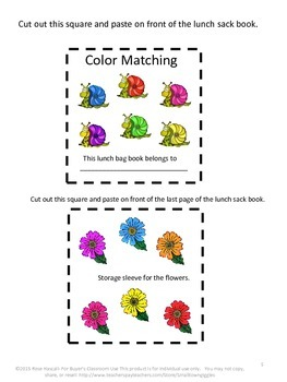 Springtime Color Matching Lunch Sack Book P-K, P, Autism, Special Education