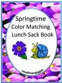 Springtime Color Matching Lunch Sack Book P-K, P, Autism,