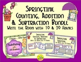Springtime Count, Add & Subtract Bundle with 10 & 20 Frames {Subitizing}