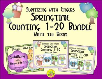 Springtime Counting 1-20 Bundle {Subitizing with Fingers}