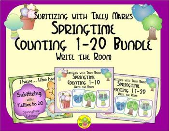 Springtime Counting 1-20 Bundle {Subitizing with Tally Marks}