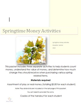 Springtime Counting Money Activity