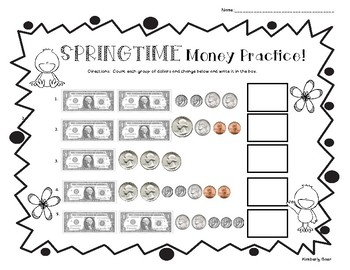 Springtime Counting Money Practice Worksheet - Dollars and  Coins