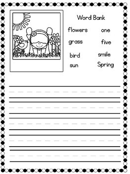 Springtime Descriptive Writing Picture Prompts, Anchor Charts and Paper!
