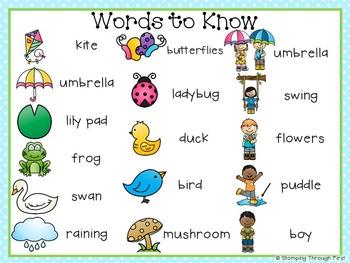 Sight Word Sentence Strips: Springtime Set