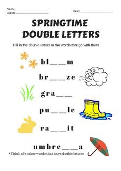 Springtime Double Lettered Words Worksheet