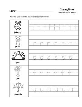 Springtime First Letter Trace Worksheets Preschool/Kindergarten