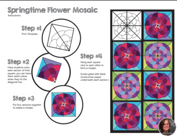 Springtime Flower Mosaic - Collaborative Coloring Sheets - Radial Symmetry