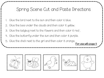 Springtime Following Directions Freebie