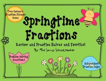Springtime Fractions: Halves and Fourths