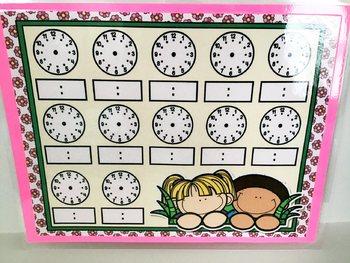 Springtime Fun Full Sheet Telling Time Blank Clocks Mat Dry Erase