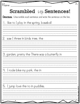 Scrambled Up Sentences - Spring themed
