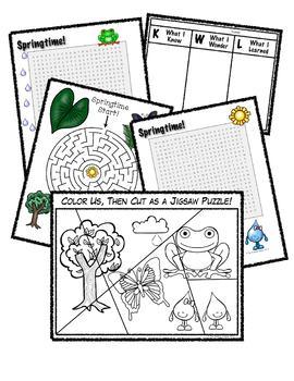 Springtime Fun!  Word search, Maze & Jigsaw Puzzle!