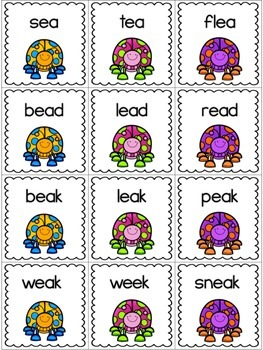 Springtime Game Cards - Decoding Words with Long Vowels