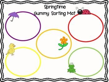 Springtime Gummy Sorting Mat (sort by color/shape)