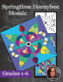 Springtime Honeybee Mosaic - Interactive Coloring Sheets - Spring Art Lesson