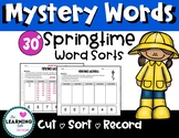 Springtime MYSTERY WORD sorts: Cut, Sort, Record Word Patterns!