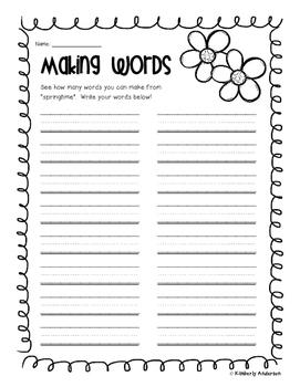 Springtime Making Words Activity