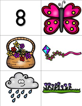 Springtime Counting Match Up Number Cards