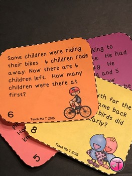 Spring Math Task Cards  Addition and Subtraction Word Problems for 1st Grade