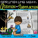 Spring Math Task Cards  Addition and Subtraction Word Prob