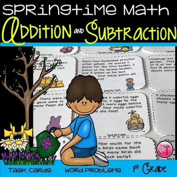 ~Springtime Math Task Cards~ Addition and Subtraction Word