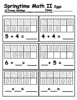 Ten Frame - Springtime Math Addition - Eggs!