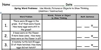 Springtime Math Word Problems Addition and Subtraction to 20