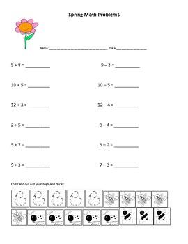 Springtime Math Worksheets