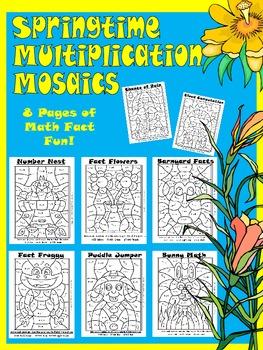 springtime multiplication mosaics math fact fun new images tpt. Black Bedroom Furniture Sets. Home Design Ideas