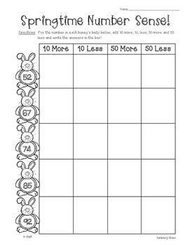 Springtime Number Sense Activity Worksheet Leveled Pack
