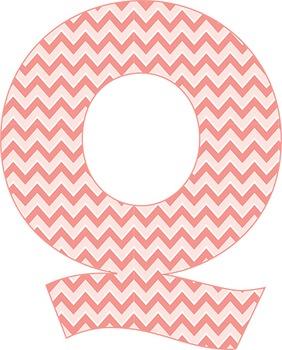 Springtime Peach Chevron Alphabet - 91 Characters - Full Latin Alphabet
