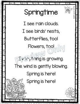 Springtime - Printable Poem for Kids
