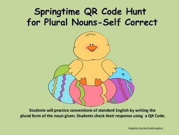 Plural Nouns (regular and irregular) Springtime QR Code Hunt or SCOOT Game