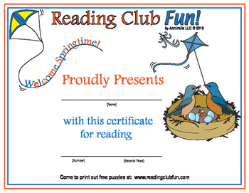 Springtime Reading Log and Certificate Set