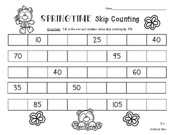 springtime skip counting skip counting by 5 number patterns practice. Black Bedroom Furniture Sets. Home Design Ideas